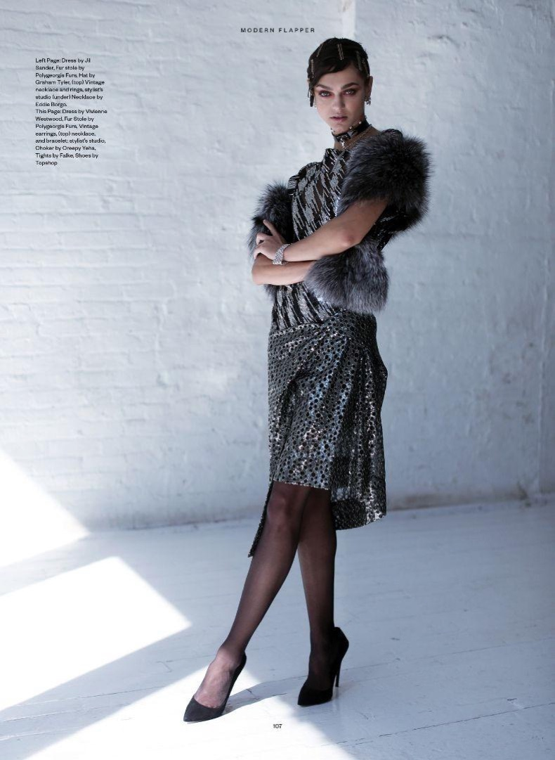The model poses in flapper inspired looks for the fashion editorial