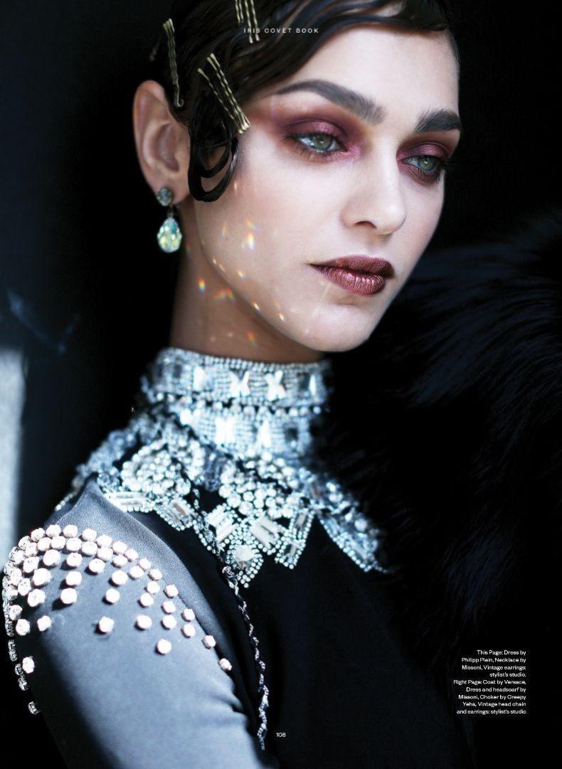 Model Zhenya Katava wears Philipp Plein dress with Missoni necklace