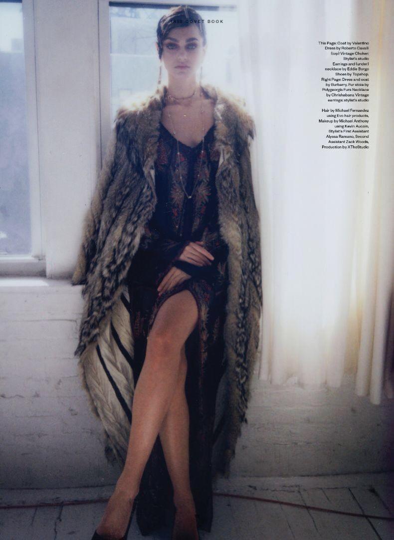 Zhenya Katava flaunts some leg in Valentino coat and Roberto Cavalli dress
