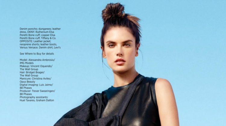 Alessandra Ambrosio Rocks Edgy Denim Looks for Harper's Bazaar Singapore