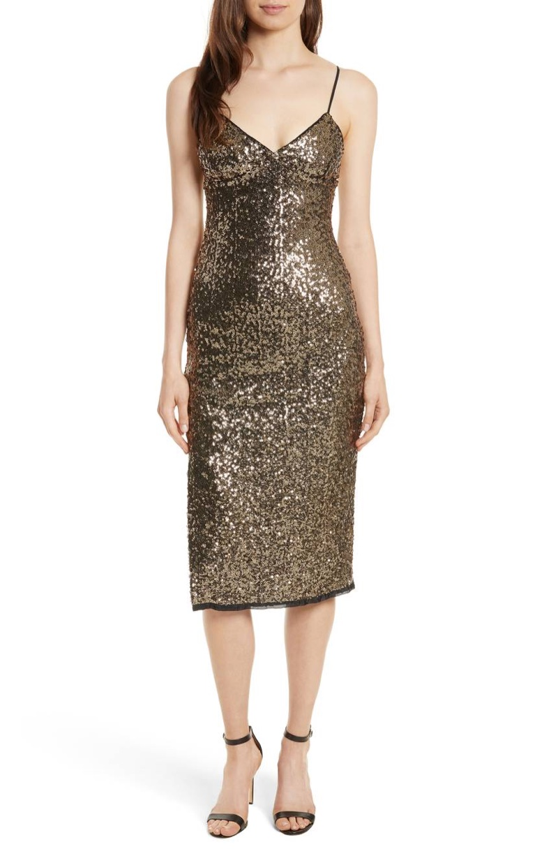 Alexis Sequin Camisole Dress in Antique Gold $475