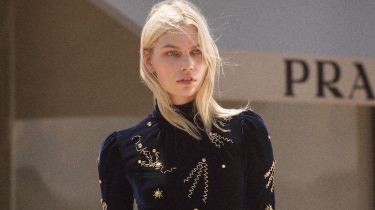 Model Aline Weber wears Prada embellished velvet dress