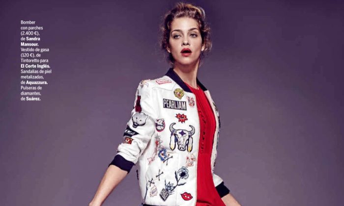 Ana Beatriz Barros models Sandra Mansour bomber jacket with El Corte Ingles dress and Aquazzura heels
