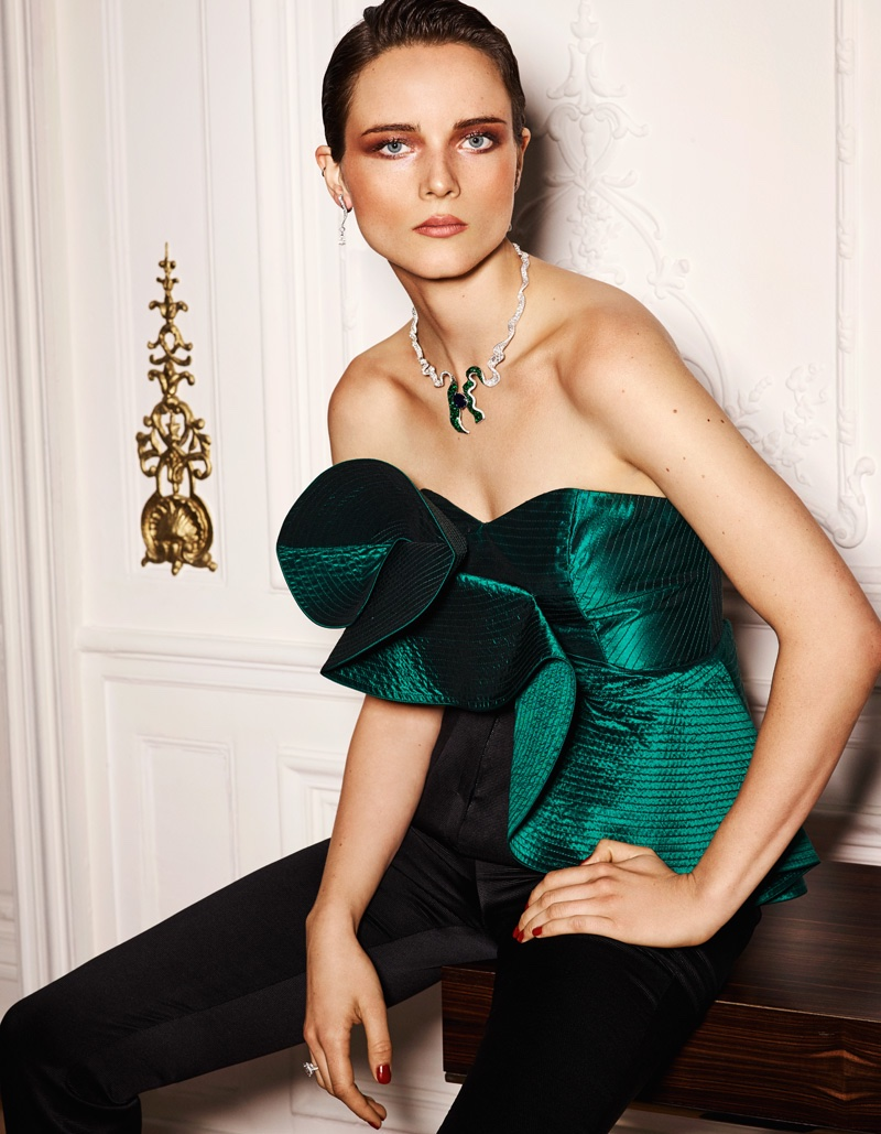 Anna de Rijk wears Johanna Ortiz sculpted top with Olivier Theyskens pants