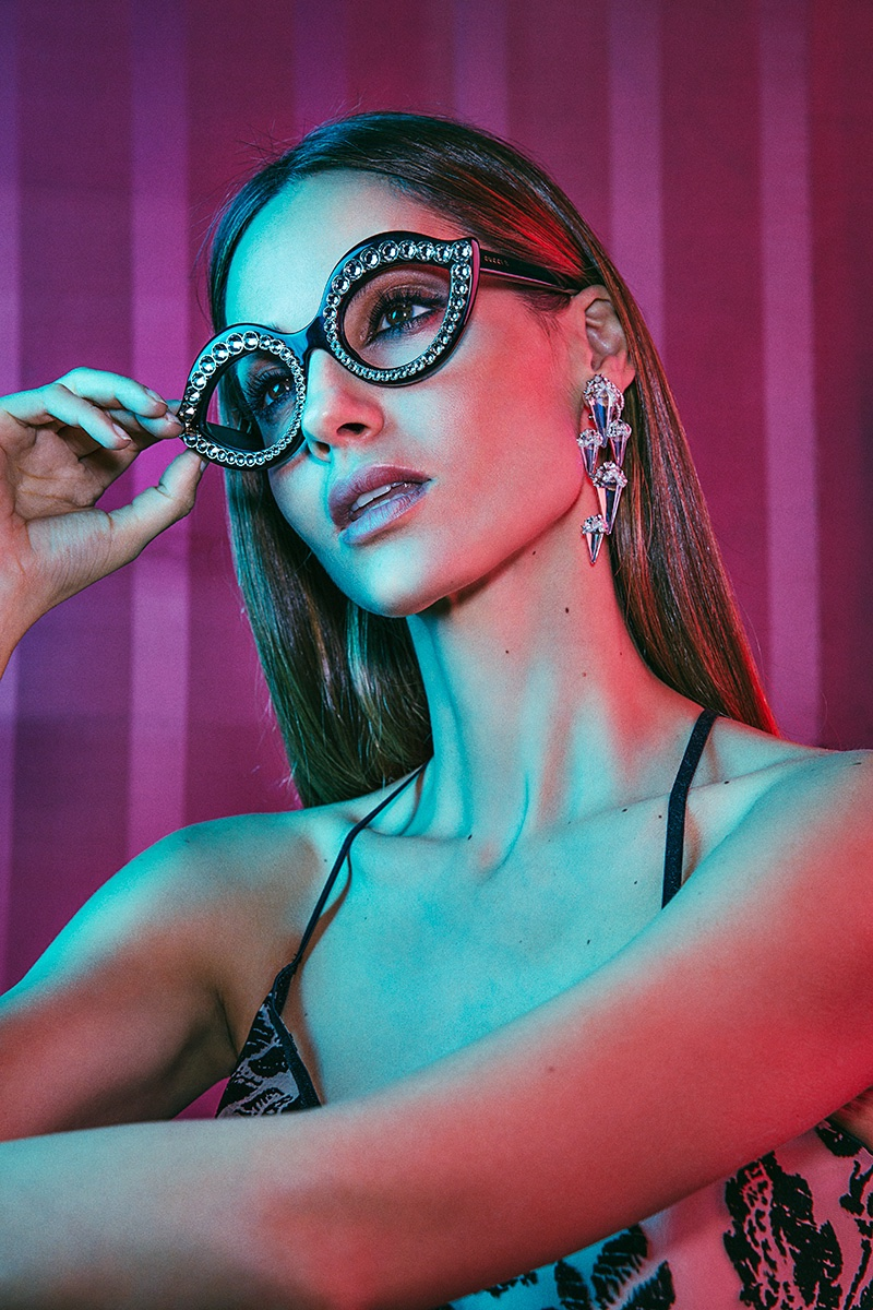 Ariadne Artilles gets glam in embellished eyewear with statement earrings