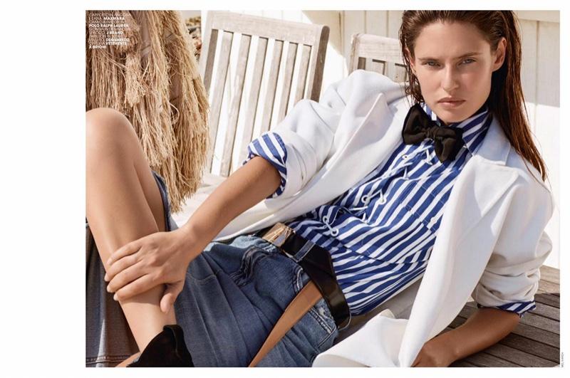 Bianca Balti models MaxMara coat, Polo Ralph Lauren shirt and J Brand skirt