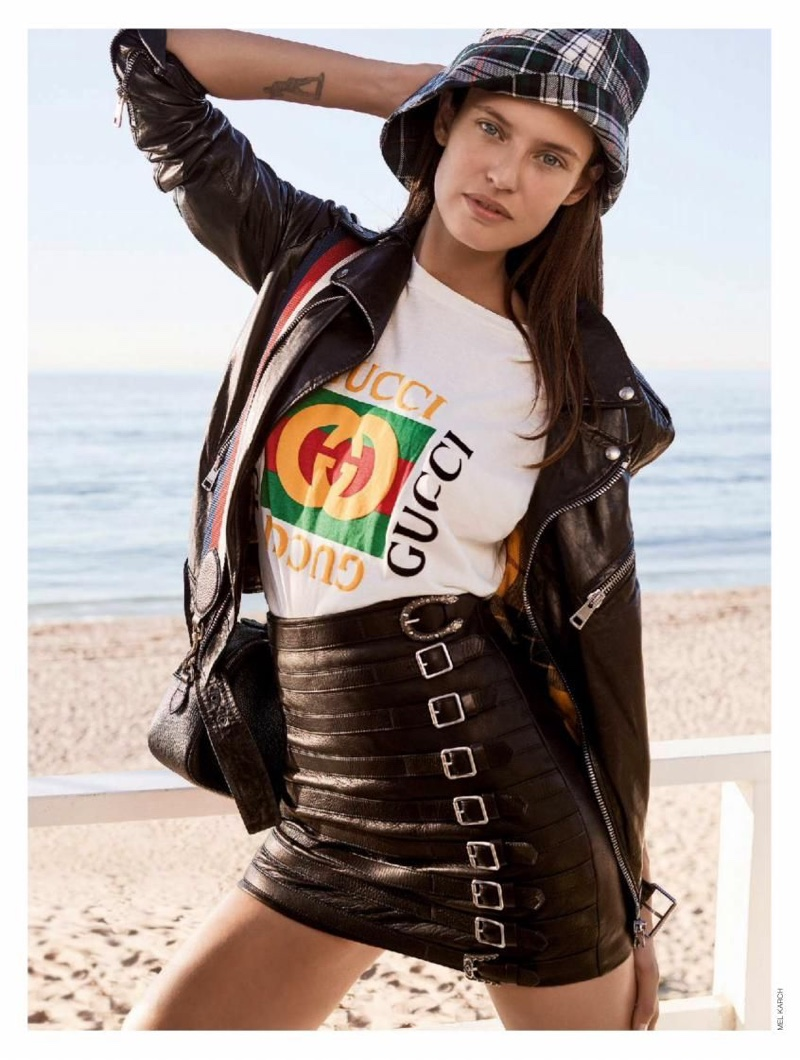 Serving casual glam, Bianca Balti wears Gucci look with leather jacket and skirt