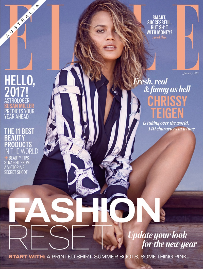 Chrissy Teigen on ELLE Australia January 2017 Cover