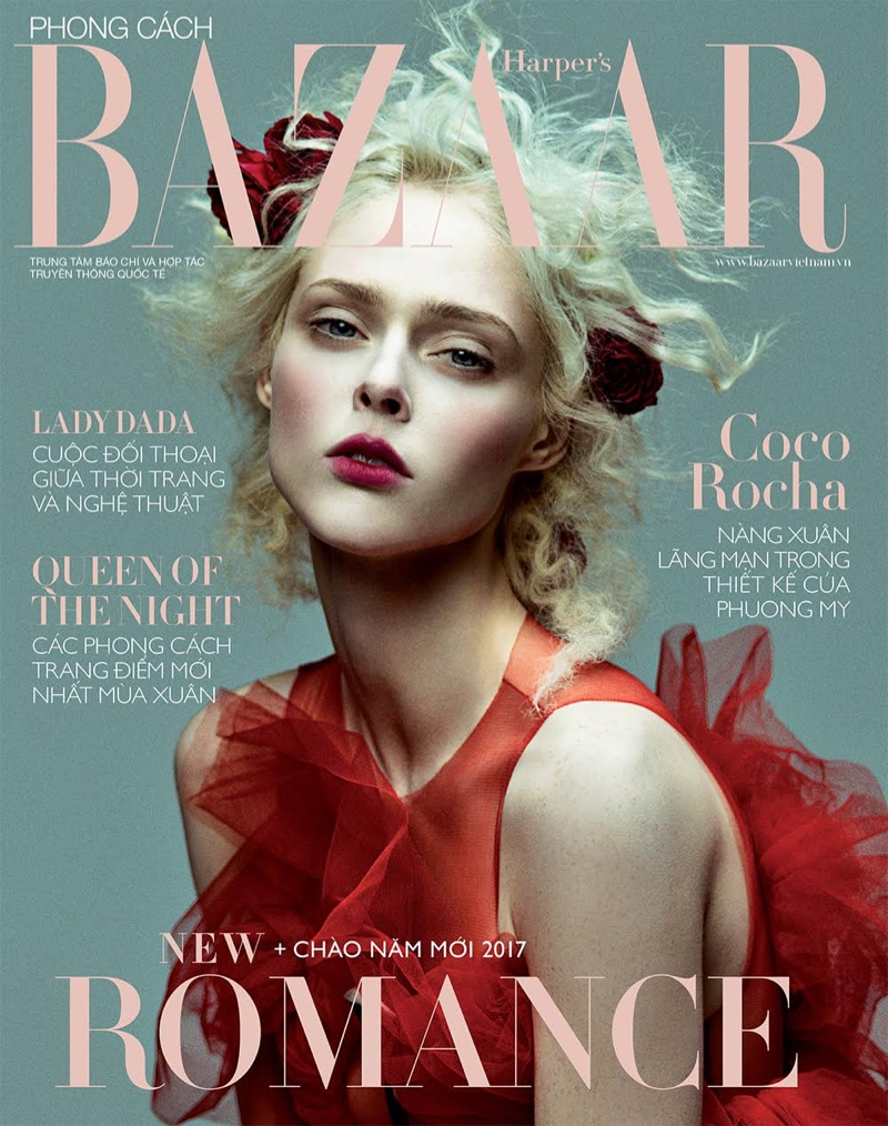 Photographed by Zhang Jingna, Coco Rocha poses on Harper's Bazaar Vietnam's January 2017 cover