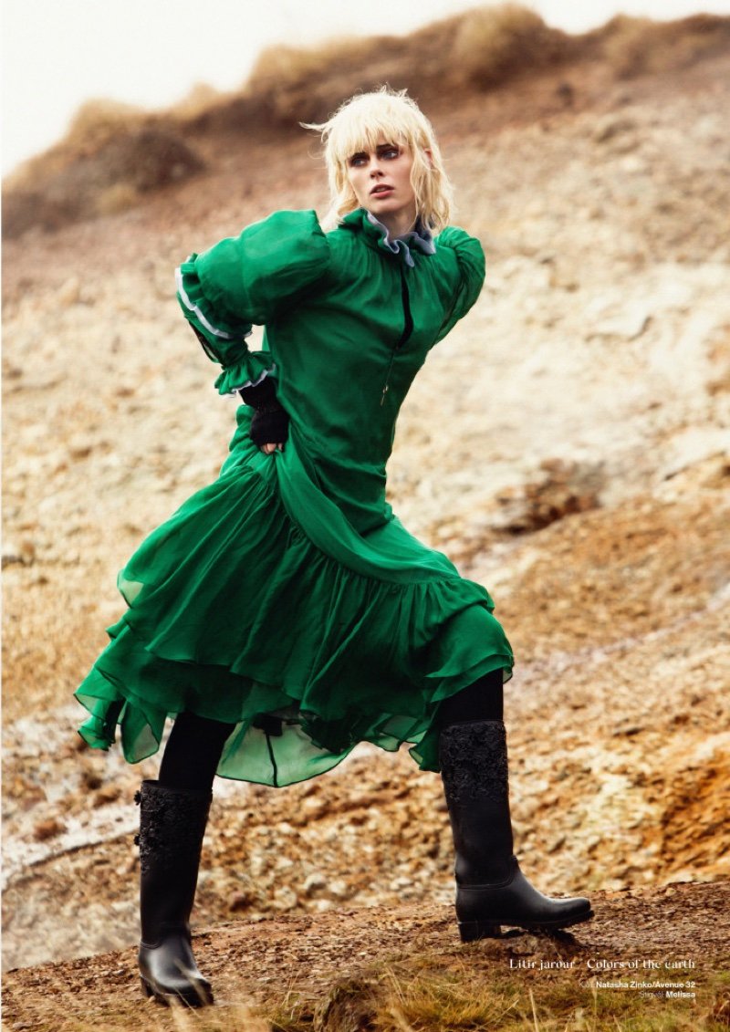 Coco Rocha models Natasha Zinko dress and Melissa boots