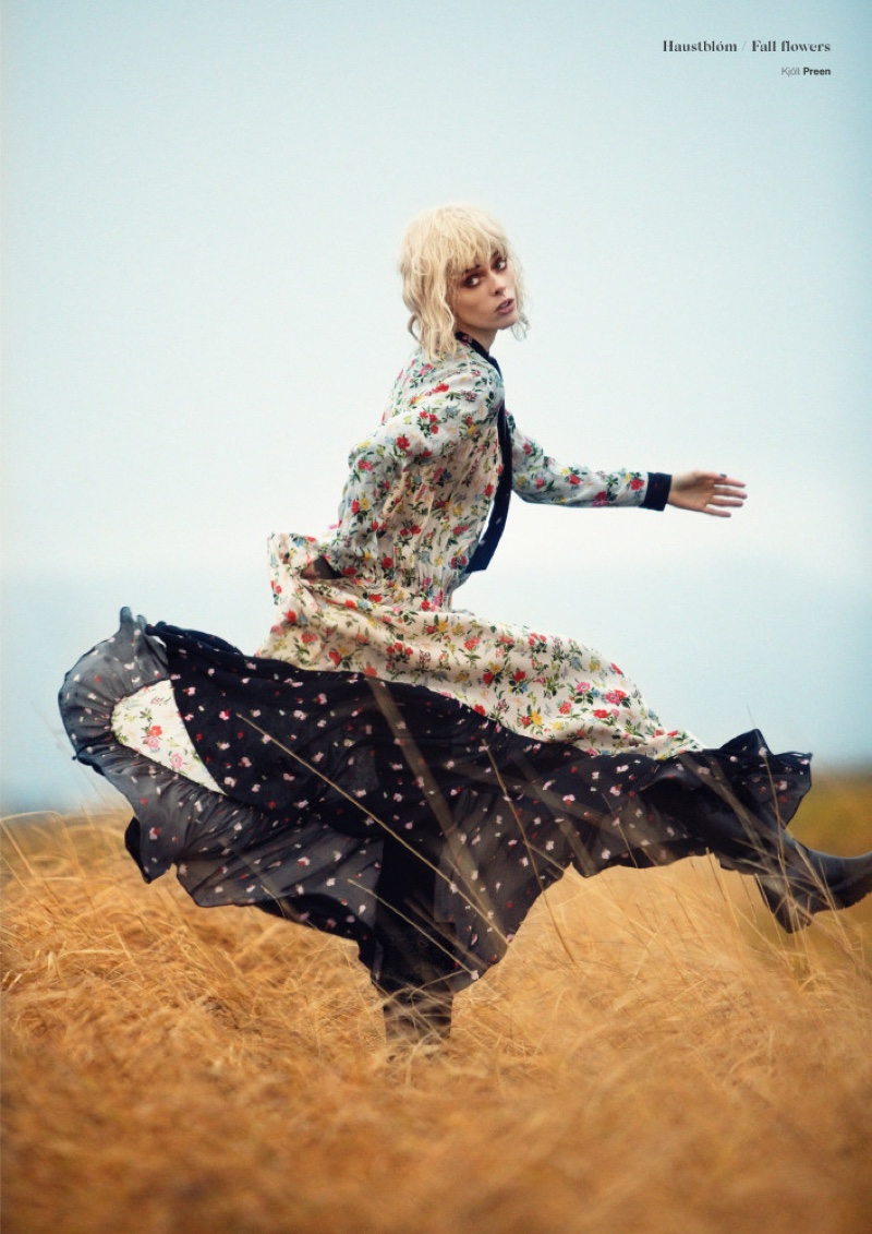 Striking a pose, Coco Rocha models Preen floral print dress