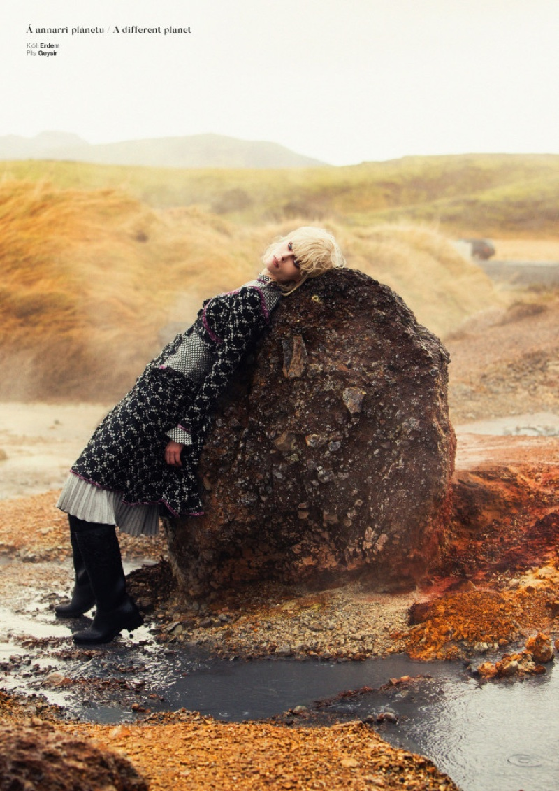 Posing outdoors, Coco Rocha models Erdem dress and Geysir skirt