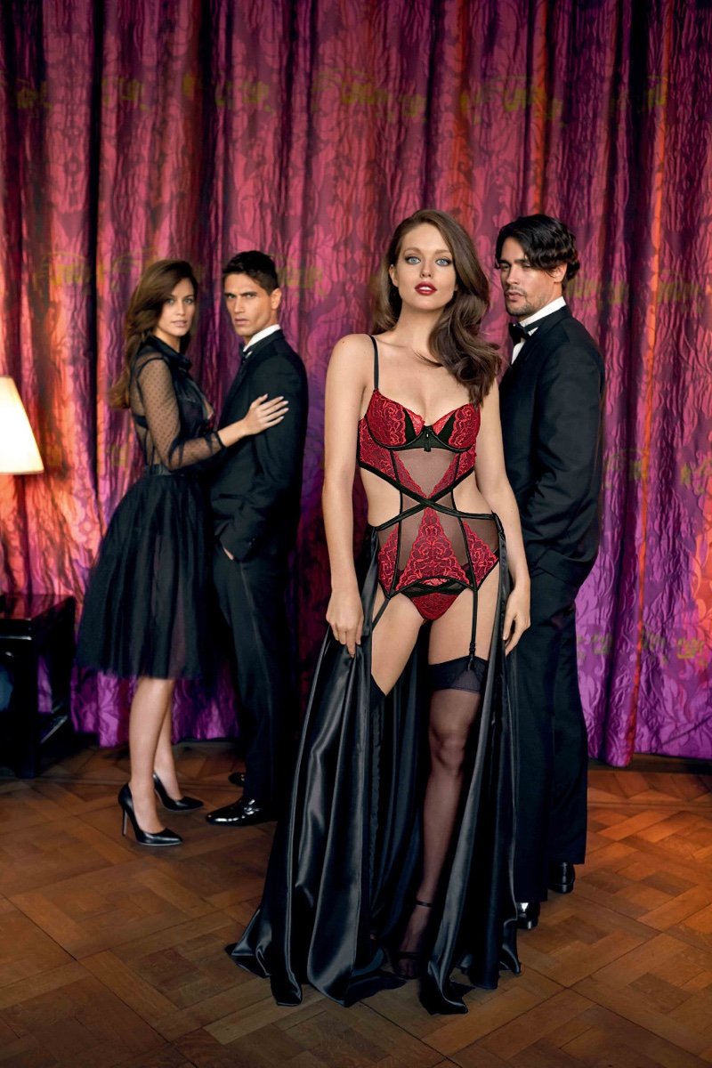 Model Emily DiDonato wears Yamamay Pure Temptation Parisian padded basque