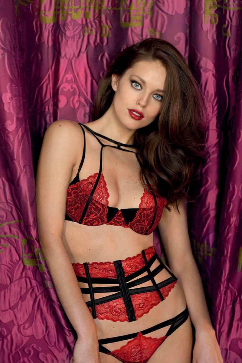 Model Emily DiDonato wears Yamamay Pure Temptation Carioca Bra, Corset in Satin and lace with Thong featuring Lace Insert