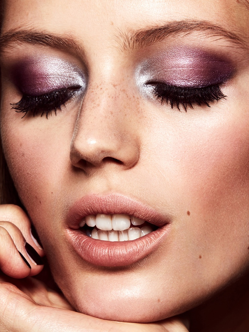 Model Esther Heesch shines with shimmering purple eyeshadow