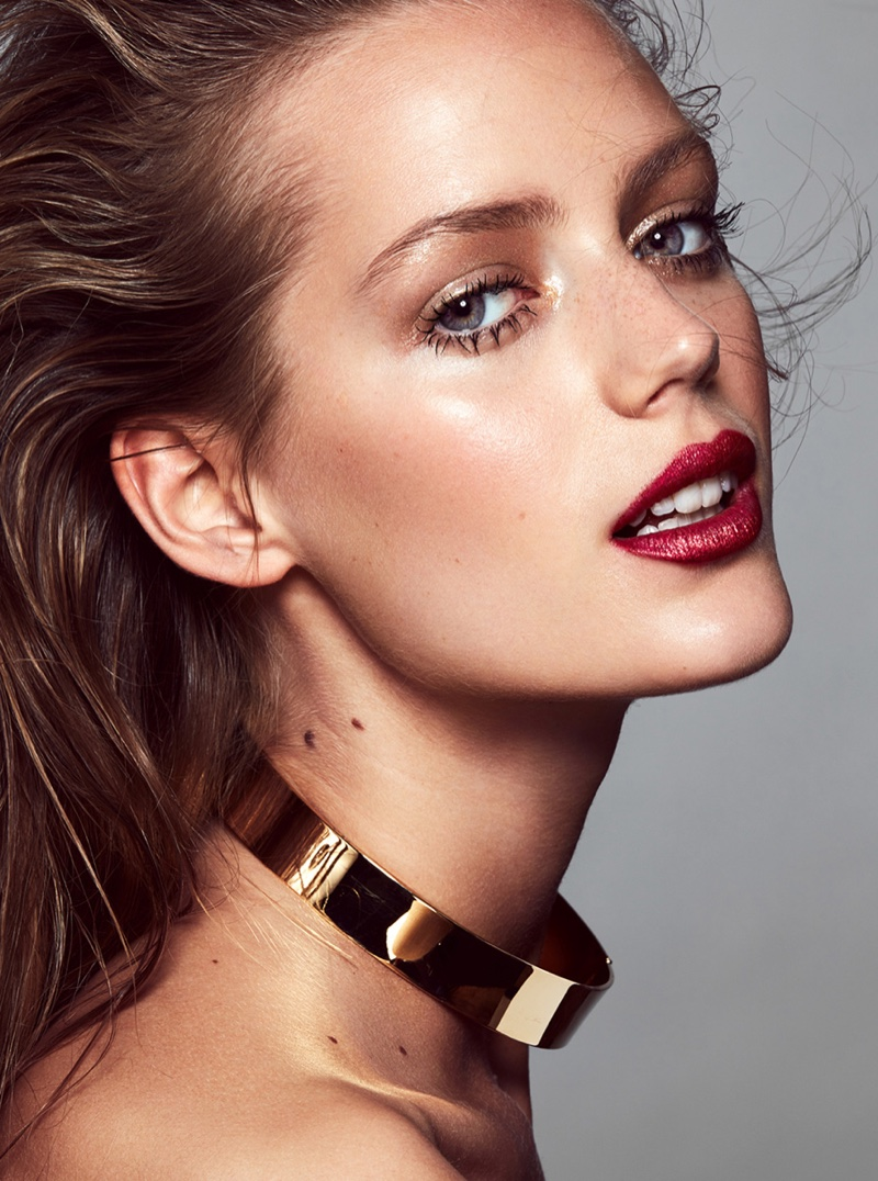 Esther Heesch models choker necklace and shimmering red lipstick