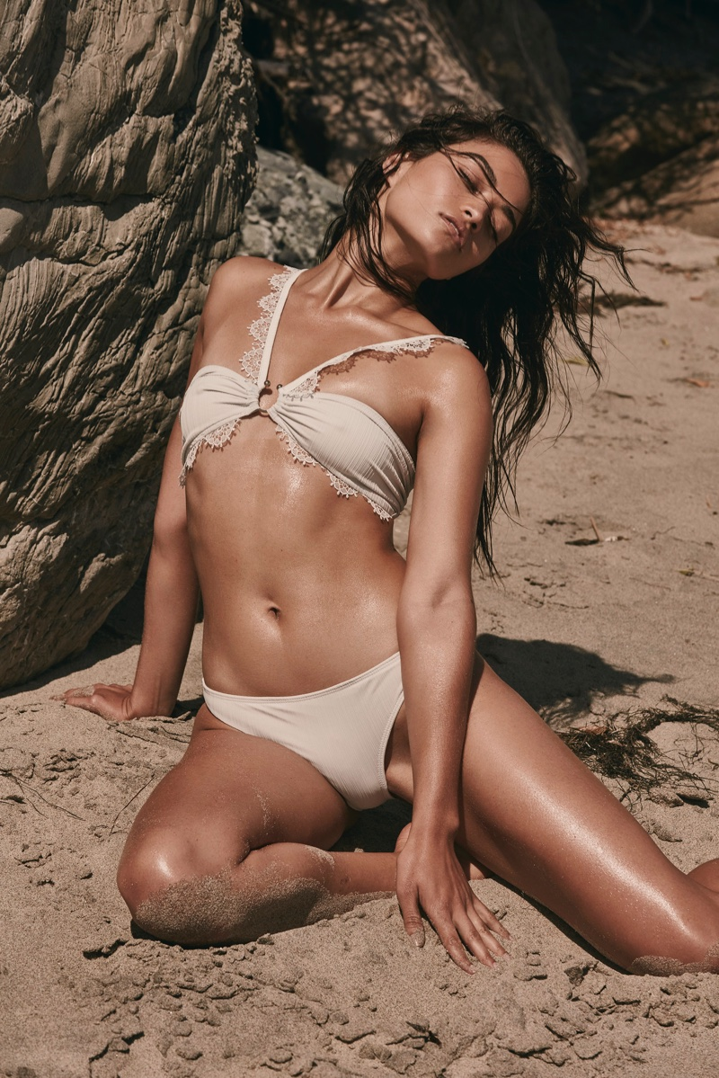 Shanina Shaik models For Love & Lemons La Rochelle bandeau top and La Rochelle bottom