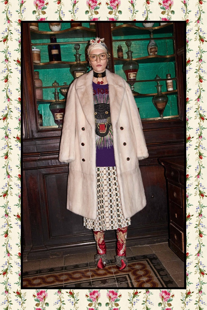 Fur coat with embroidered sweater and printed skirt - Gucci Pre-Fall 2017 collection