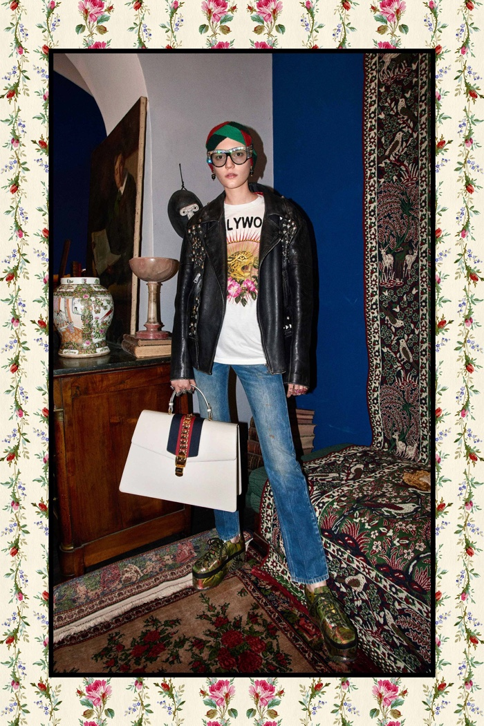 Embellished leather jacket, t-shirt and jeans - Gucci Pre-Fall 2017 collection