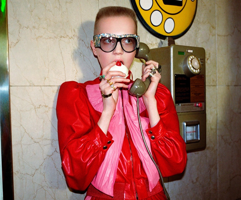 9d7d7cbaa7a Models star in Gucci s spring-summer 2017 campaign Gucci channels 1980 s  style for its spring 2017 campaign