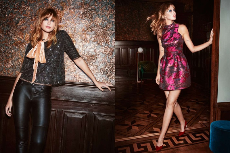 (Left) H&M Sequined Blouse, Imitation Leather Pants and Velour Scarf (Right) H&M Jacquard-Weave Dress and Pumps