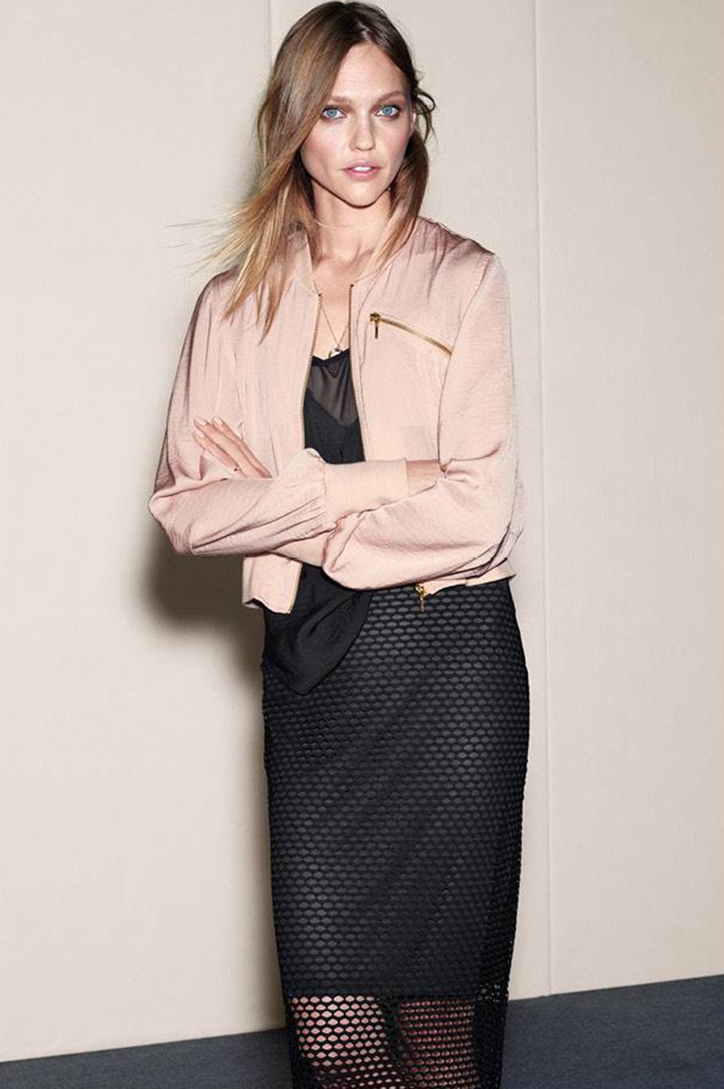 H&M Short Bomber Jacket, Camisole Top with Mesh Detail and Mesh Skirt
