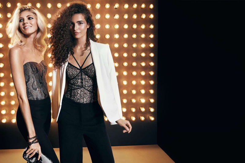 (Left) H&M Bustier and Tuxedo Pants (Right) H&M Tuxedo Jacket, Lace Bodysuit and Wide-Cut Pants