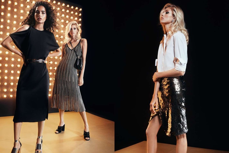 (Left) H&M Creped Dress, Waist Belt and Patent Sandals (Middle) H&M Glittery Dress and Velvet Mules (Right) H&M Wide-Cut Cotton Shirt and Sequined Wrap Skirt