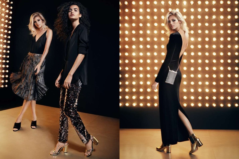 (Left) H&M V-Neck Top, Pleated Skirt and Velvet Mules (Middle) Crepe Blouse, Sequined Pants and Sandals (Right) H&M Velvet Maxi Dress, Rigid Clutch Bag and Ankle Boots