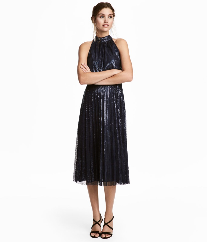 H&M Sequined Dress in Dark Blue $99