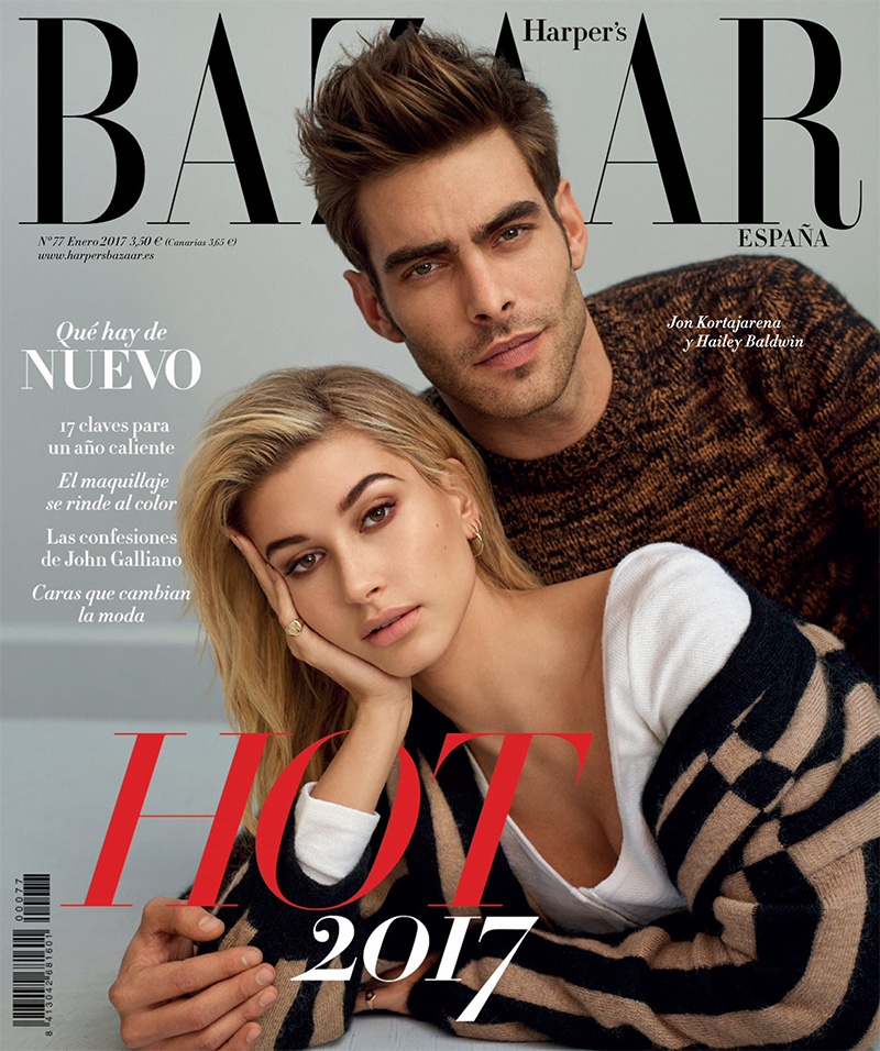 Hailey Baldwin and Jon Kortajarena on Harper's Bazaar Spain January 2017 Cover