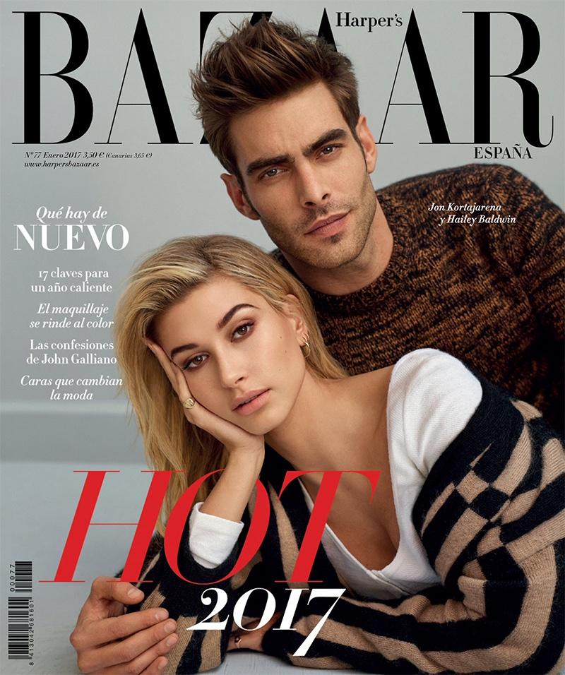 Hailey Baldwin and Jon Kortajarena on Harper's Bazaar Spain January 2017 Cover