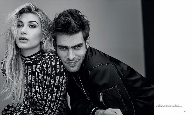 Model Hailey Baldwin poses in Versace printed top