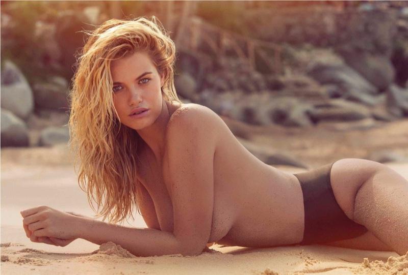 Hailey Clauson smolders in black bikini bottoms