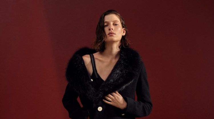 Helmut Lang Faux Fur Collar Coat and Scalloped-Lace Trimmed Slip Dress