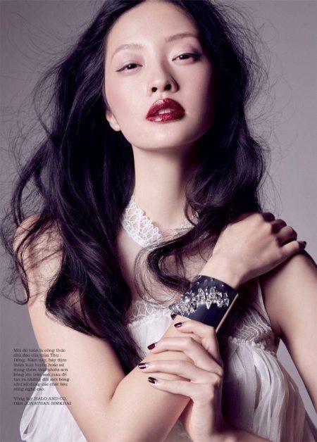 Hilda Lee Models Party Inspired Makeup for ELLE Vietnam