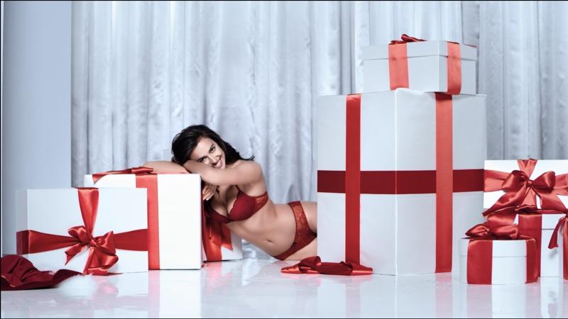 Irina Shayk Has a Sexy Christmas in Intimissimi Lingerie