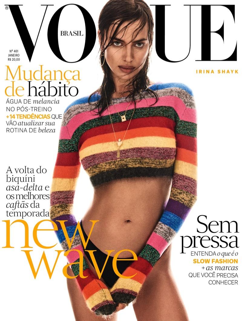Model Irina Shayk wears Miu Miu sweater on Vogue Brazil January 2017 cover