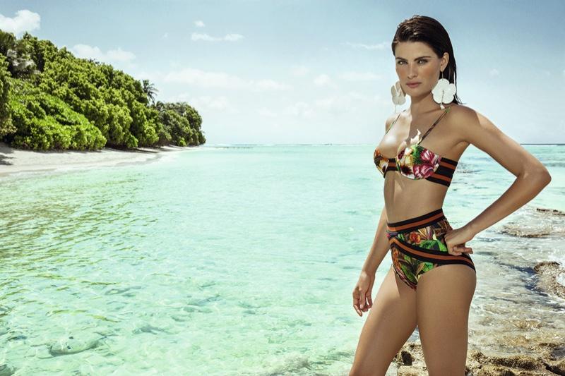 Isabeli Fontana models Agua de Coco's watercolor floral bikini
