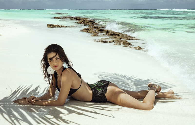 Photographed in the Maldives, Isabeli Fontana poses in Agua de Coco campaign