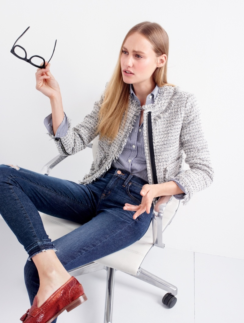 J. Crew Lady Jacket in Metallic Tweed, Thomas Mason for J. Crew Stretch Shirt in Stripe, Toothpick Jean in Point Lake Wash and Biella Crackled Leather Loafers