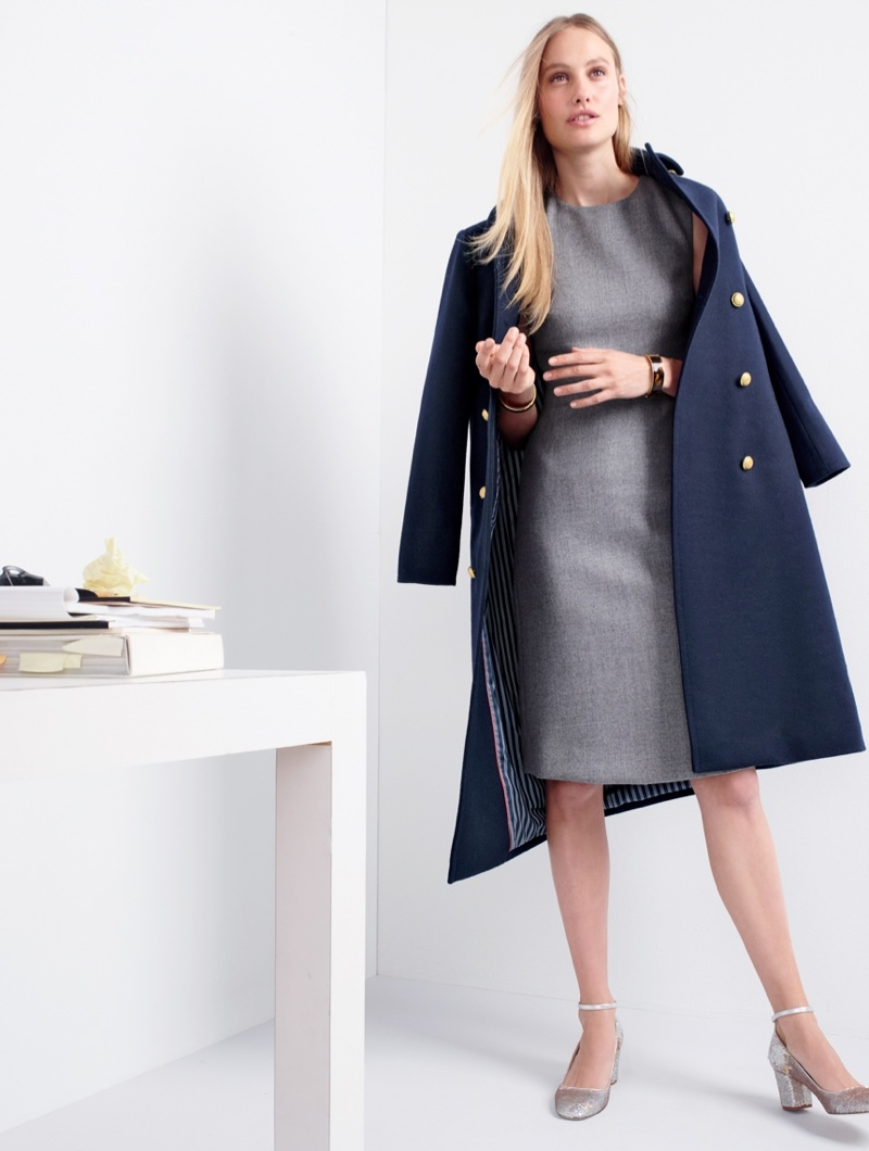 J. Crew Double-Breasted Topcoat in Wool-Cashmere, A-Line Dress in Double-Serge Wool, Sophia Pumps in Sequin and Tortoise Clamp Bracelet