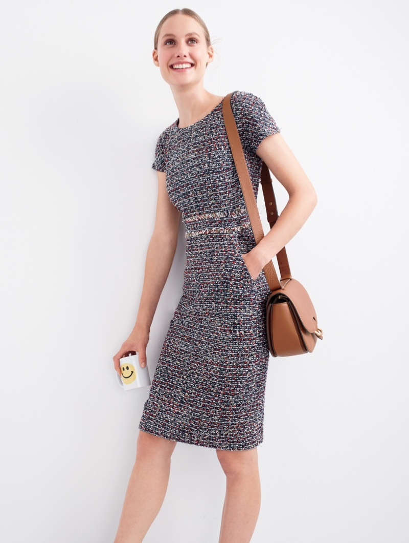 J Crew Shift Dress In Multicolored Tweed And Rider Bag Italian Leather
