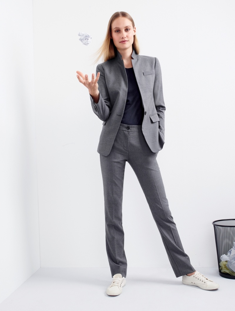J. Crew Blazer in Super 120s Wool, Tissue T-Shirt, Regent Pant in Super 120s Wool and Women's Tretorn Canvas T56 Sneakers