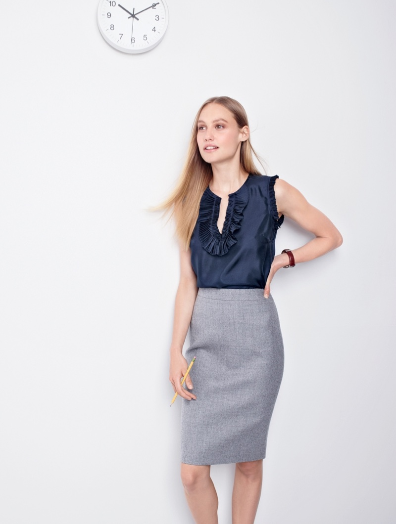 J. Crew Margot Top in Silk, No. 2 Pencil Skirt in Double-Serge Wool, Elsie Pave Pumps in Snakeskin-Printed Leather and Mougin & Piquard Chronovintage Watch