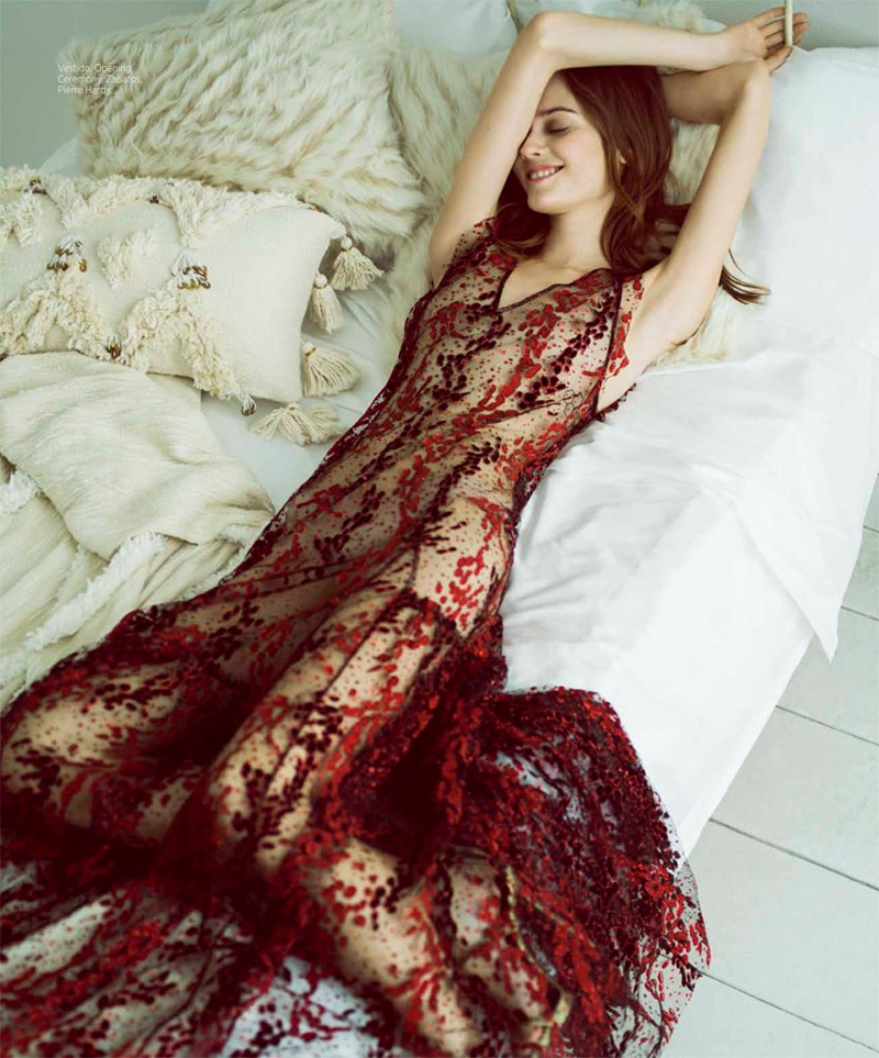 Lounging in bed, Jac Jagaciak wears Open Ceremony dress with Pierre Hardy heels