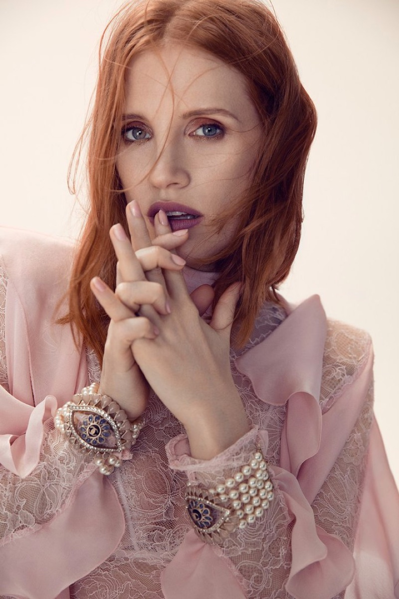 Looking pretty in pink, Jessica Chastain wears pink Gucci dress