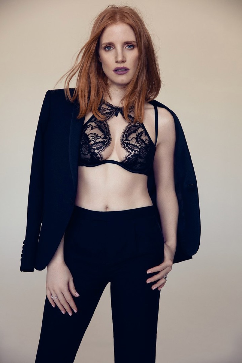 Actress Jessica Chastain suits up with lace bra top