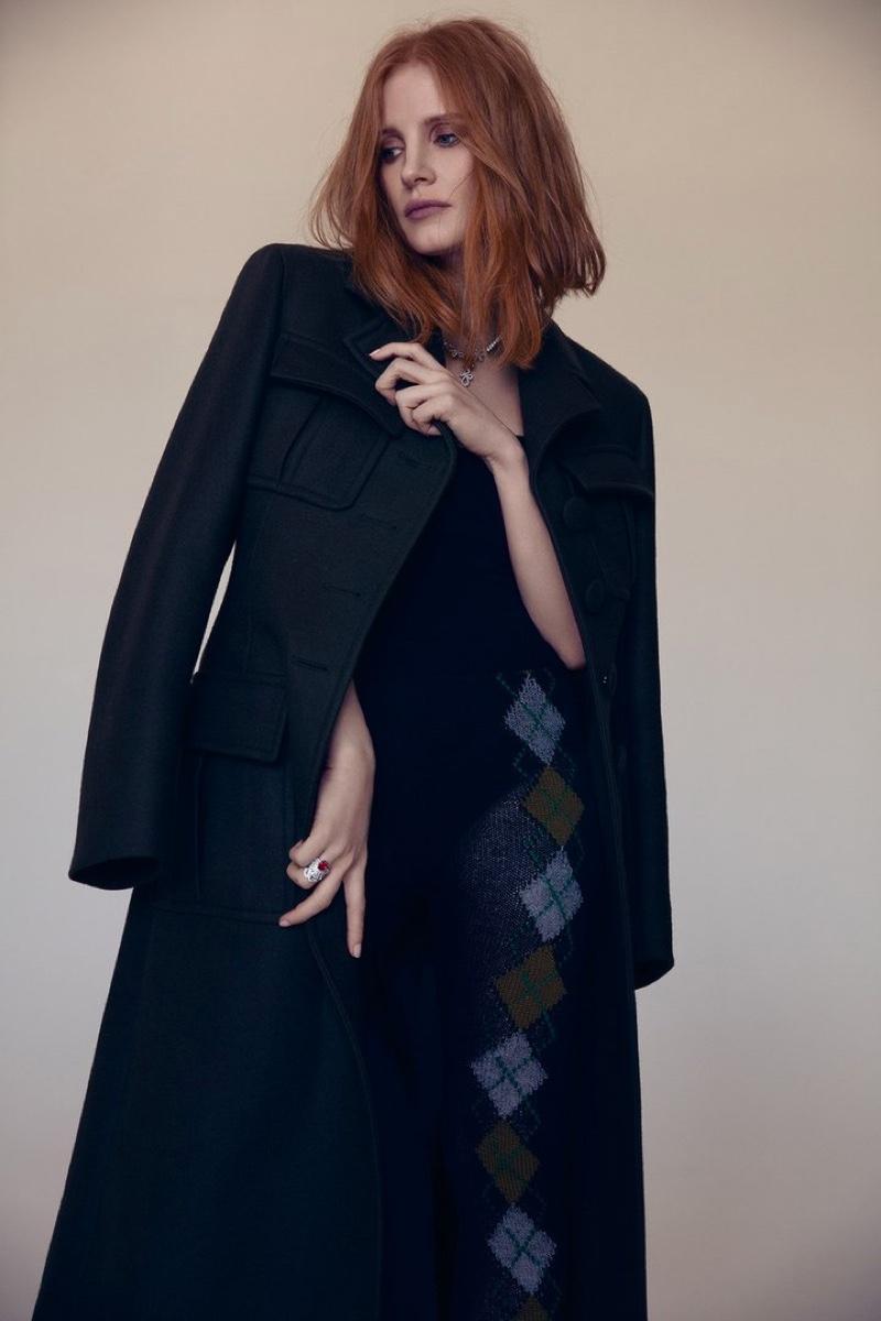 Jessica Chastain wears Prada coat
