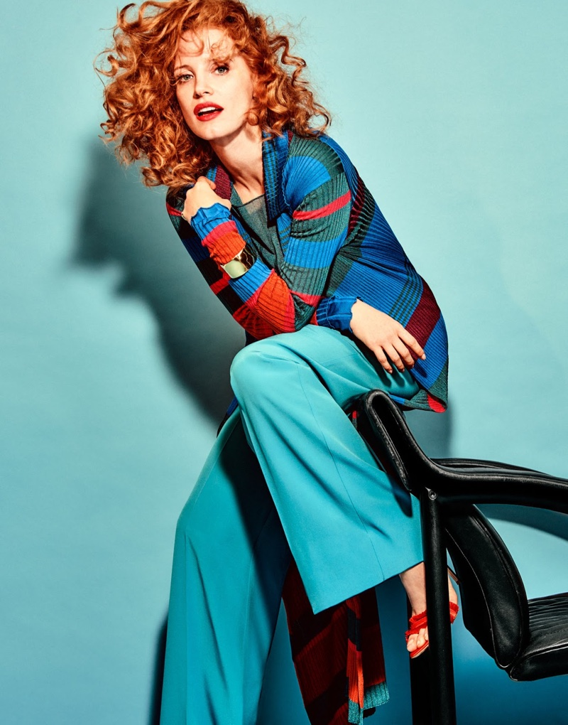 Embracing stripes, Jessica Chastain wears Etro top and pants with Gianvito Rossi sandals and Ippolita cuff